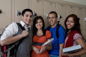 High School Students Standing Beside School Lockers — Stock Photo