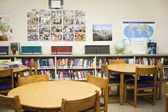 High School Library With Arranged Tables And Chairs — Stock Photo