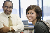 Professor With Female Student In Library — Stock Photo