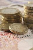 Coins On Pound Notes — Stock Photo