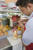 Street Vendor Preparing Fruit Salad — Stock Photo