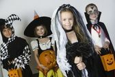 Group Of Kid In Halloween Costumes — Stok fotoğraf