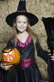 Girl In Halloween Outfit Holding Jack-O-Lantern And Broomstick — Stock Photo