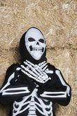 Child In Skeleton Outfit Standing Against Hay — Stock Photo