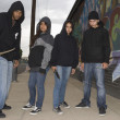 Four Young Angry Robbers With Knives — Stockfoto
