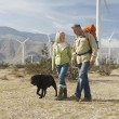 Senior Couple Walking With Dog Near Wind Farm — Stock Photo