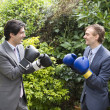 Two young men in suits stage a mock boxing match - Stok fotoğraf