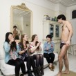 Stock Photo: Young females enjoying male stripper