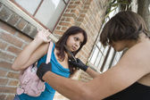 Female Robber Scaring A Woman With Knife — Stock Photo