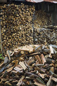 Firewood With Wood Shed In Background — Stock Photo