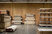 Wooden plywood stored in warehouse — Stock Photo