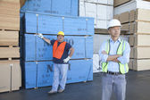 Male warehouse workers standing in front of stack of plywood — Stock Photo