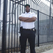Security Guard Standing In Front Of The Prison Fence - Stock Photo