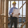 Architect Standing With Blueprint At Site — Stock Photo