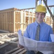 Architect With Blueprint At Site — Stock Photo