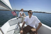 Couple Sailing In Sail Boat — Stock Photo