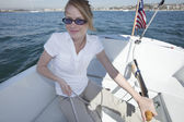 Young Woman Riding Sailboat — Stock Photo