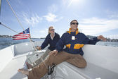 Couple Sailing Together In Boat — Stock Photo