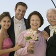 Bride and Groom with parents — Stock Photo