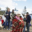 Multiethnic friends at campsite — Stock Photo #33797557