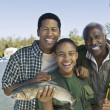 Stock Photo: Family Trout Fishing