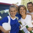 Soccer Mom with Daughter and Husband — Stock Photo