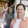 Family with camper van — Stock Photo