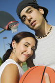 Couple at Basketball Court. — Stock Photo