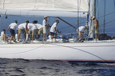 Crew working on sailboat — Stok fotoğraf