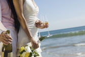 Newlywed couple with champagne — Stock fotografie