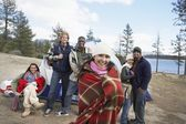 Multiethnic friends at campsite — Stock Photo