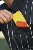 Referee taking card — Stock Photo