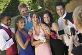 Friends Being Videotaped at School Dance — Stock Photo