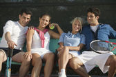 Doubles tennis players — Stock Photo