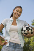 Woman Holding Soccer Ball. — Foto de Stock