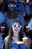 Woman  watching 3D movie — Stock Photo