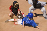 Catcher Tagging Runner — Stock Photo