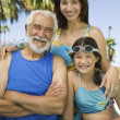 Girl with mother and grandfather — Stock Photo