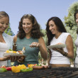 Women around outdoor grill. — Stock Photo