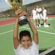 Boy Holding Tennis Trophy — Foto de Stock