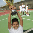 Boy Holding Tennis Trophy — Stock Photo