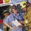 Stock Photo: Fire fighters and paramedics