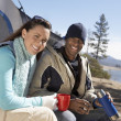 Stock Photo: Happy young couple at campsite