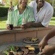 Senior Couple at Outdoor Barbecue — Stock Photo #33801783