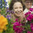 Senior Couple in plant nursery — Stock Photo