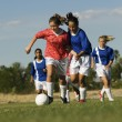 Teenage Girls Playing Soccer — Stock Photo