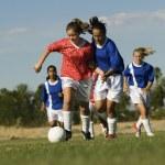 Teenage Girls Playing Soccer — Stock Photo #33803385