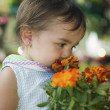 Girl Smelling Marigolds — Stock Photo