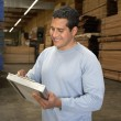 Stock Photo: Mchecking lumber in warehouse