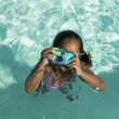 Girl Using Camera in Swimming Pool — Stock Photo